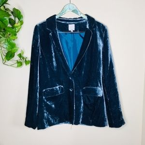 Halogen Blue Soft Velvet Sleeve with Pocket Blazer